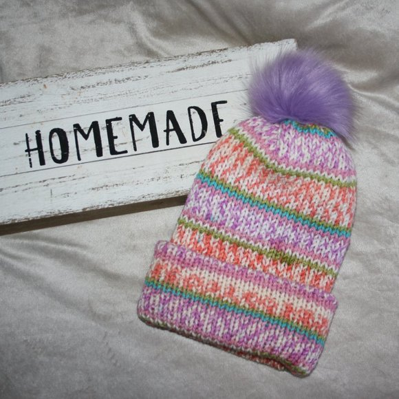 Orange and purple knit beanie with fur pom NEW